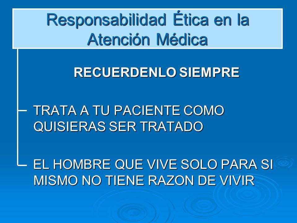 Responsabilidad Ética en la Atención Médica RECUERDENLO SIEMPRE RECUERDENLO SIEMPRE TRATA A TU PACIENTE COMO QUISIERAS SER TRATADO TRATA A TU PACIENTE