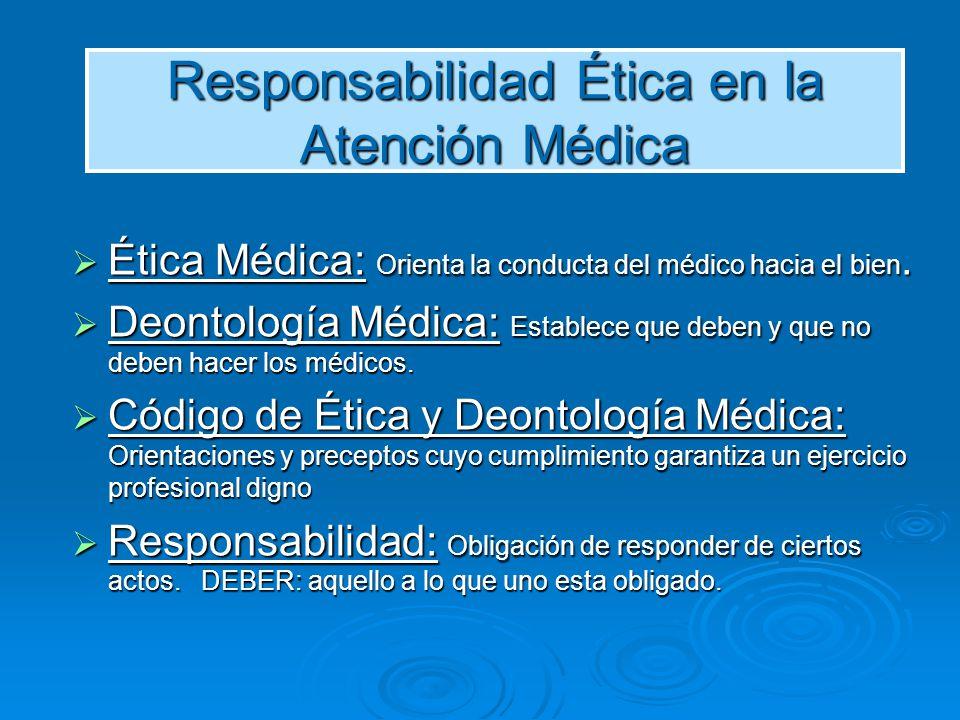 Ética Médica: Orienta la conducta del médico hacia el bien. Ética Médica: Orienta la conducta del médico hacia el bien. Deontología Médica: Establece