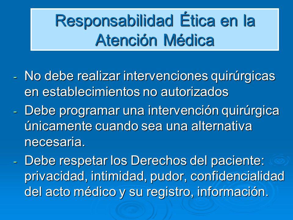 Responsabilidad Ética en la Atención Médica Debe presentarse al paciente en condiciones de ecuanimidad e higiene y tratarlo con lealtad, decoro, corrección, dedicación, cortesía y oportunidad.