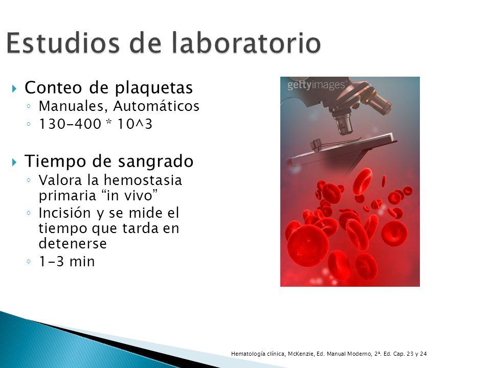 Estudios de laboratorio Conteo de plaquetas Manuales, Automáticos 130-400 * 10^3 Tiempo de sangrado Valora la hemostasia primaria in vivo Incisión y s