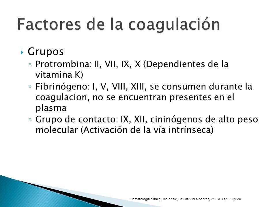 Grupos Protrombina: II, VII, IX, X (Dependientes de la vitamina K) Fibrinógeno: I, V, VIII, XIII, se consumen durante la coagulacion, no se encuentran