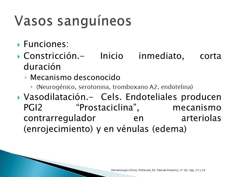 Funciones: Constricción.- Inicio inmediato, corta duración Mecanismo desconocido (Neurogénico, serotonina, tromboxano A2, endotelina) Vasodilatación.-