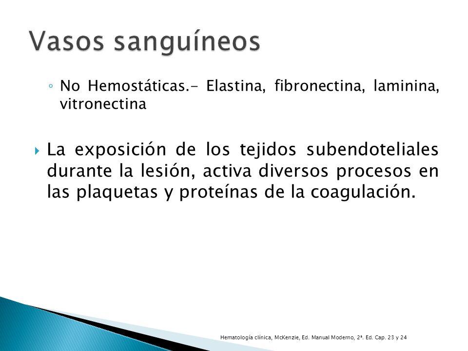 No Hemostáticas.- Elastina, fibronectina, laminina, vitronectina La exposición de los tejidos subendoteliales durante la lesión, activa diversos proce