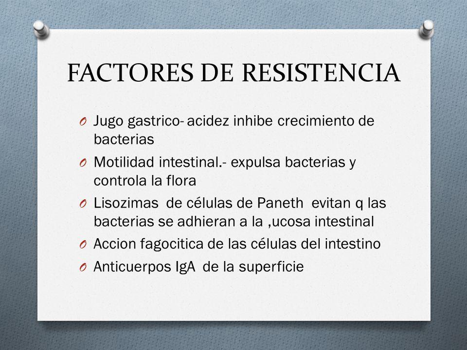 FACTORES DE RESISTENCIA O Jugo gastrico- acidez inhibe crecimiento de bacterias O Motilidad intestinal.- expulsa bacterias y controla la flora O Lisoz