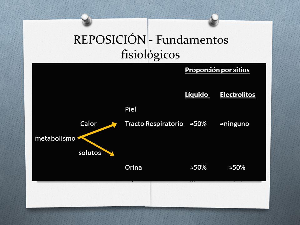 REPOSICIÓN - Fundamentos fisiológicos. Kenneth B. Roberts K; Fluid and Electrolytes: Parenteral Fluid Therapy; Pediatr. Rev. 2001;22;380 Proporción po