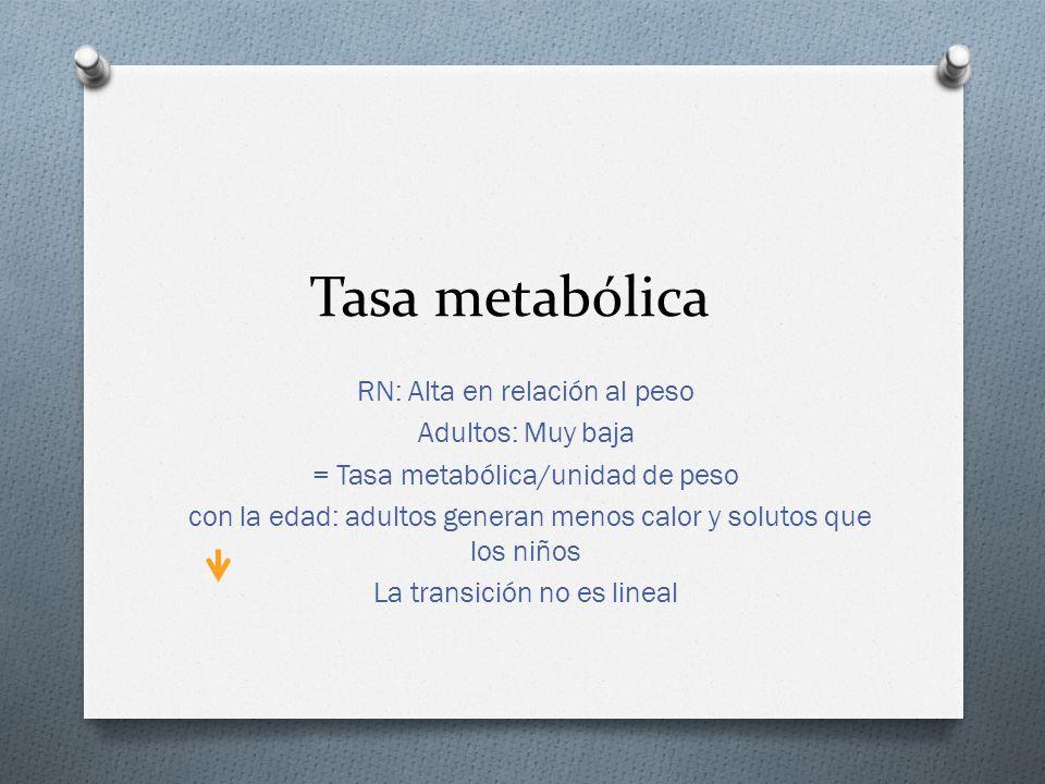 Tasa metabólica RN: Alta en relación al peso Adultos: Muy baja = Tasa metabólica/unidad de peso con la edad: adultos generan menos calor y solutos que