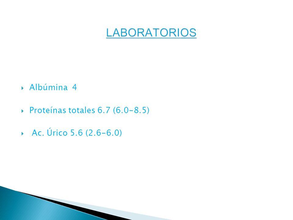 Albúmina 4 Proteínas totales 6.7 (6.0-8.5) Ac. Úrico 5.6 (2.6-6.0)