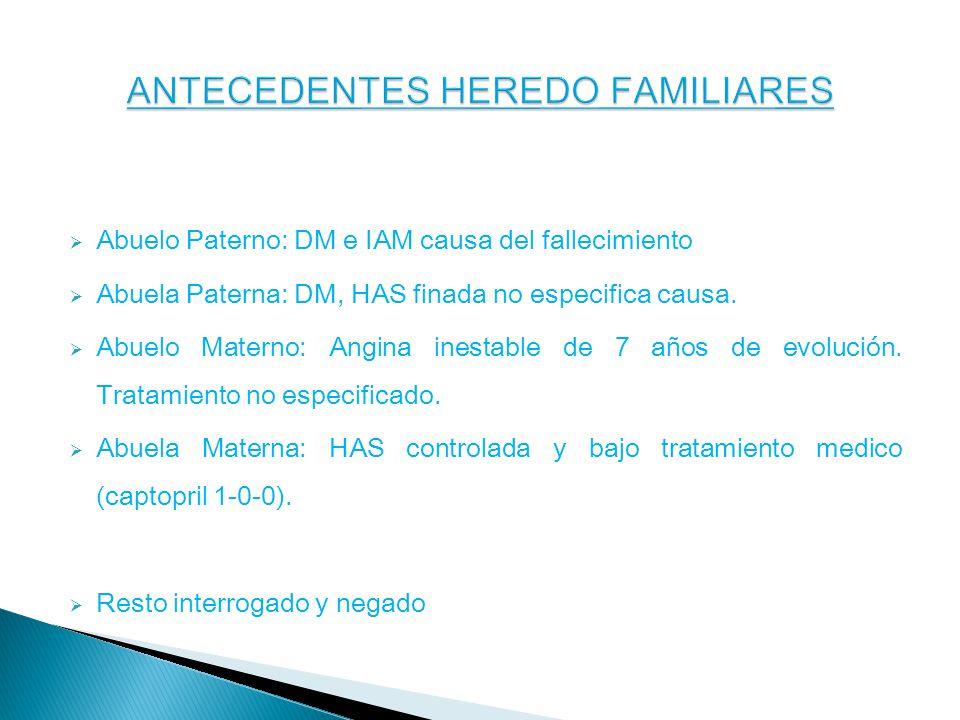 Abuelo Paterno: DM e IAM causa del fallecimiento Abuela Paterna: DM, HAS finada no especifica causa.