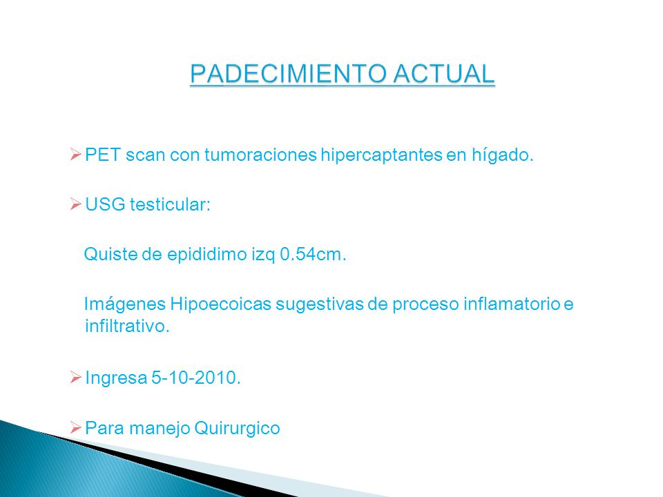 PET scan con tumoraciones hipercaptantes en hígado.