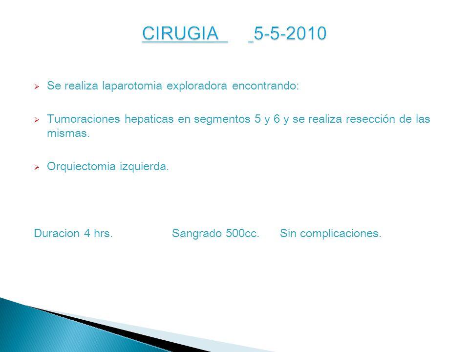 Se realiza laparotomia exploradora encontrando: Tumoraciones hepaticas en segmentos 5 y 6 y se realiza resección de las mismas.