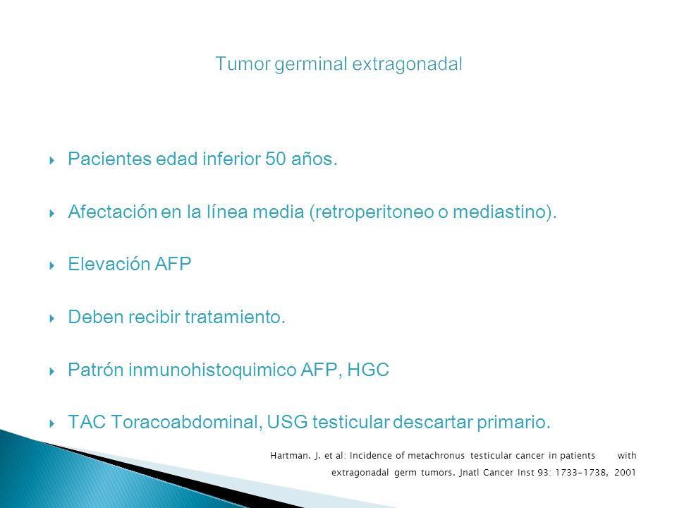 Pacientes edad inferior 50 años.Afectación en la línea media (retroperitoneo o mediastino).