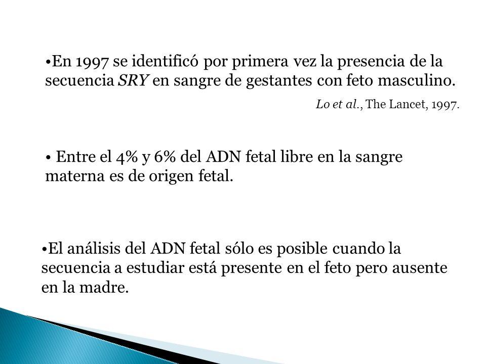 En 1997 se identificó por primera vez la presencia de la secuencia SRY en sangre de gestantes con feto masculino. Lo et al., The Lancet, 1997. El anál