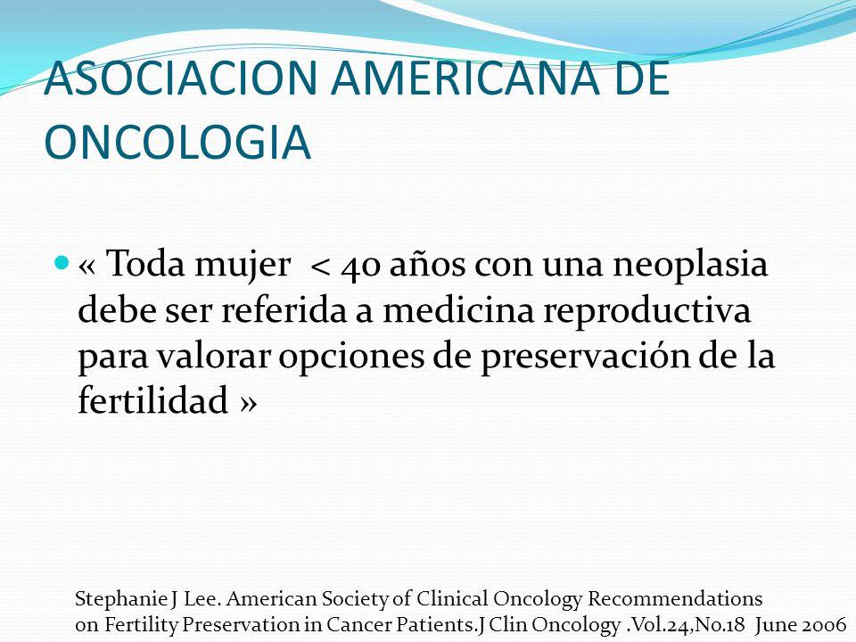 ASOCIACION AMERICANA DE ONCOLOGIA « Toda mujer < 40 años con una neoplasia debe ser referida a medicina reproductiva para valorar opciones de preserva