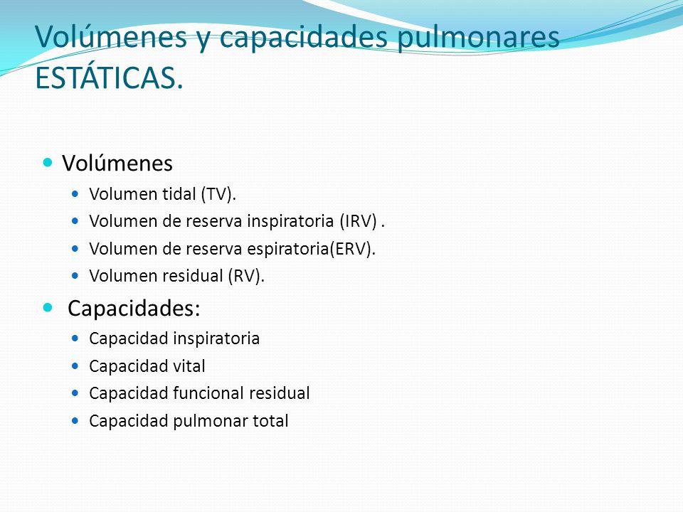 Volúmenes y capacidades pulmonares ESTÁTICAS. Volúmenes Volumen tidal (TV). Volumen de reserva inspiratoria (IRV). Volumen de reserva espiratoria(ERV)