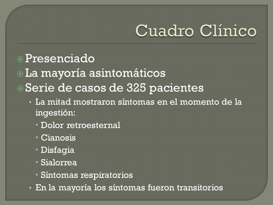 Presenciado La mayoría asintomáticos Serie de casos de 325 pacientes La mitad mostraron síntomas en el momento de la ingestión: Dolor retroesternal Ci