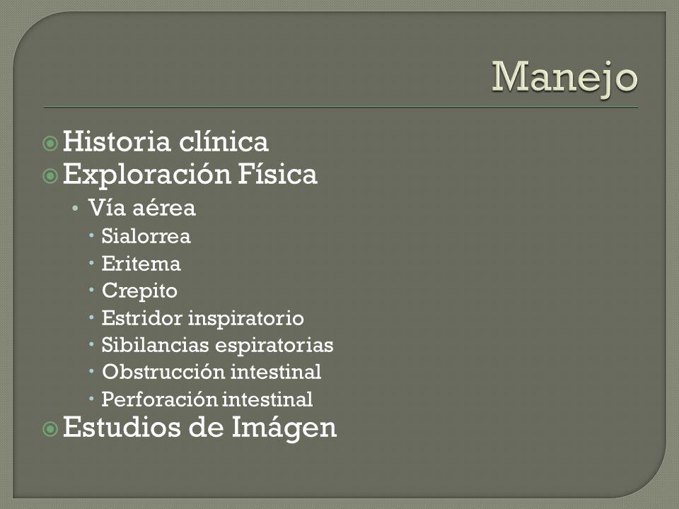 Historia clínica Exploración Física Vía aérea Sialorrea Eritema Crepito Estridor inspiratorio Sibilancias espiratorias Obstrucción intestinal Perforac
