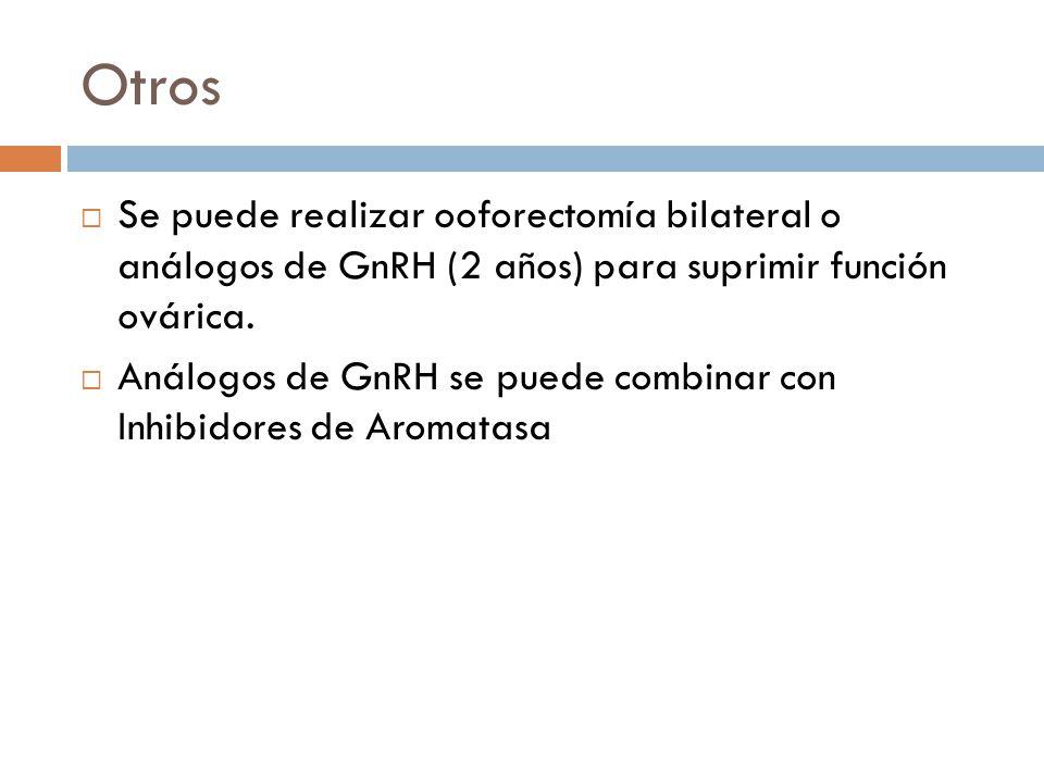 Otros Se puede realizar ooforectomía bilateral o análogos de GnRH (2 años) para suprimir función ovárica. Análogos de GnRH se puede combinar con Inhib