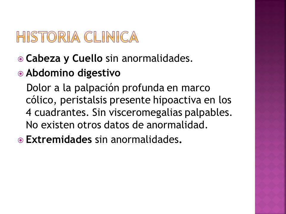 Cabeza y Cuello sin anormalidades. Abdomino digestivo Dolor a la palpación profunda en marco cólico, peristalsis presente hipoactiva en los 4 cuadrant