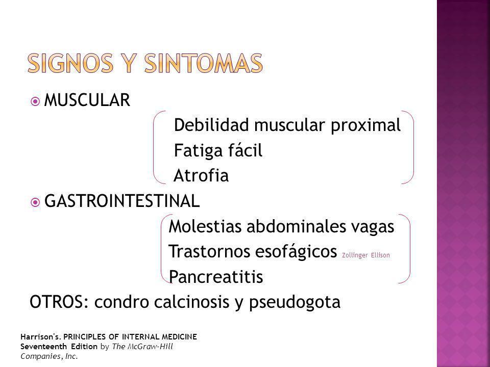 MUSCULAR Debilidad muscular proximal Fatiga fácil Atrofia GASTROINTESTINAL Molestias abdominales vagas Trastornos esofágicos Zollinger Ellison Pancreatitis OTROS: condro calcinosis y pseudogota Harrison s.