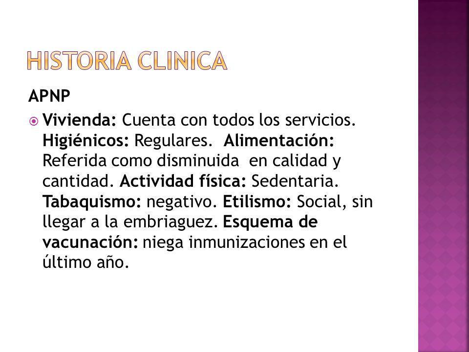 APNP Vivienda: Cuenta con todos los servicios.Higiénicos: Regulares.