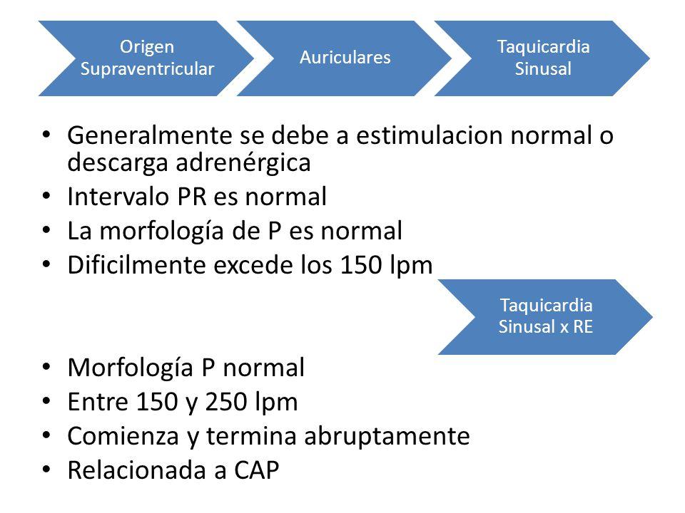 Generalmente se debe a estimulacion normal o descarga adrenérgica Intervalo PR es normal La morfología de P es normal Dificilmente excede los 150 lpm
