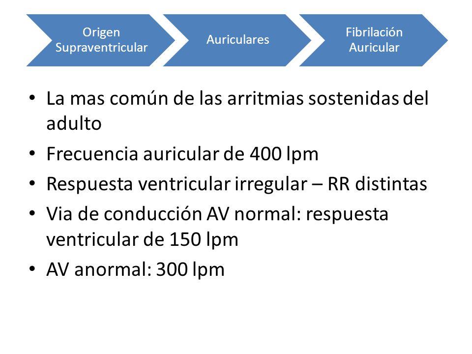 La mas común de las arritmias sostenidas del adulto Frecuencia auricular de 400 lpm Respuesta ventricular irregular – RR distintas Via de conducción A