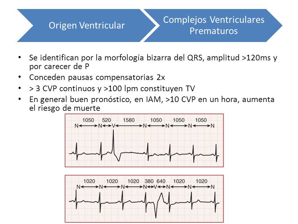 Se identifican por la morfología bizarra del QRS, amplitud >120ms y por carecer de P Conceden pausas compensatorias 2x > 3 CVP continuos y >100 lpm co