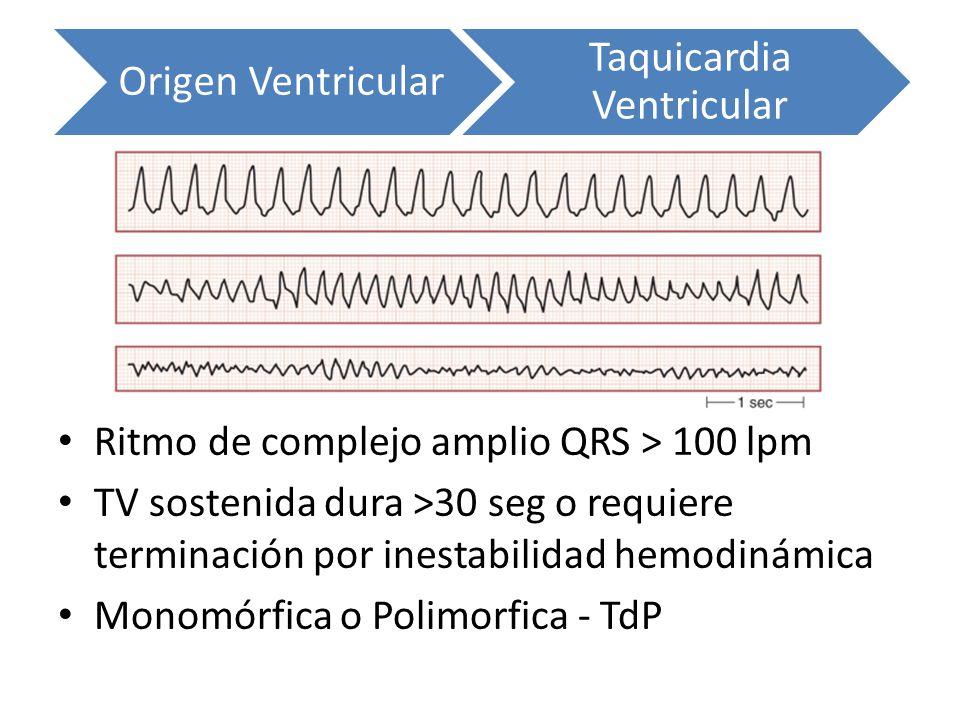 Origen Ventricular Taquicardia Ventricular Ritmo de complejo amplio QRS > 100 lpm TV sostenida dura >30 seg o requiere terminación por inestabilidad h