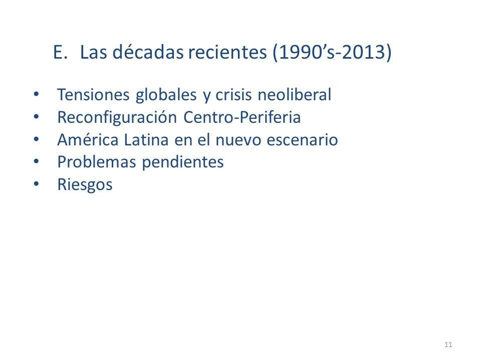 E.Las décadas recientes (1990s-2013) Tensiones globales y crisis neoliberal Reconfiguración Centro-Periferia América Latina en el nuevo escenario Prob