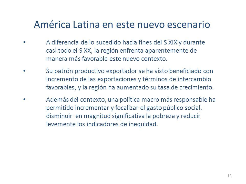 América Latina en este nuevo escenario A diferencia de lo sucedido hacia fines del S XIX y durante casi todo el S XX, la región enfrenta aparentemente