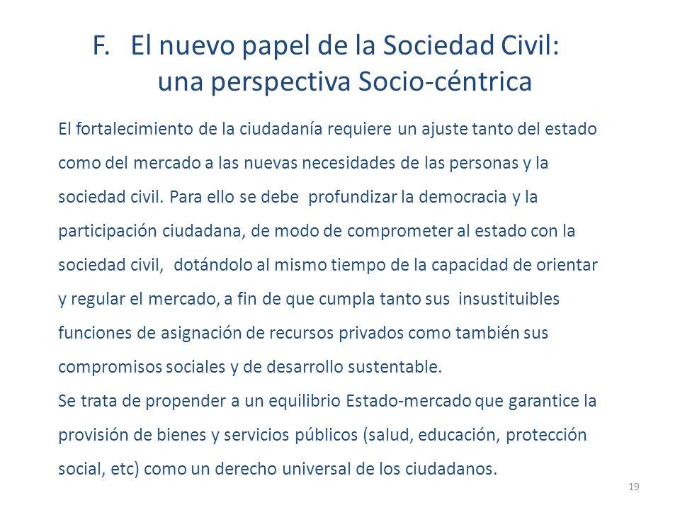 El fortalecimiento de la ciudadanía requiere un ajuste tanto del estado como del mercado a las nuevas necesidades de las personas y la sociedad civil.