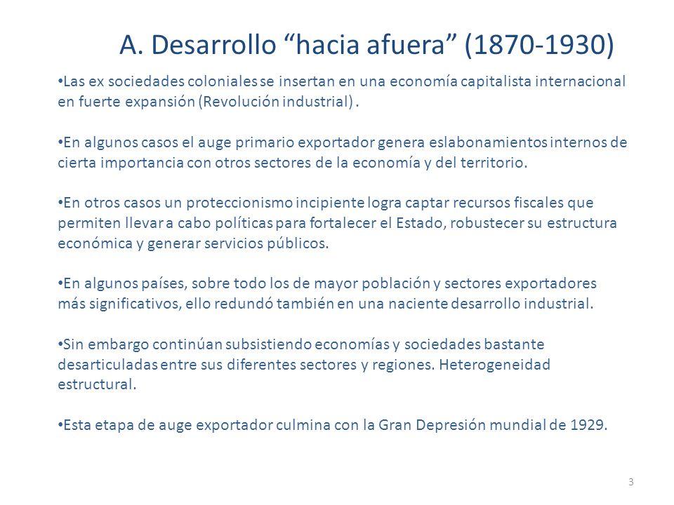 A. Desarrollo hacia afuera (1870-1930) Las ex sociedades coloniales se insertan en una economía capitalista internacional en fuerte expansión (Revoluc