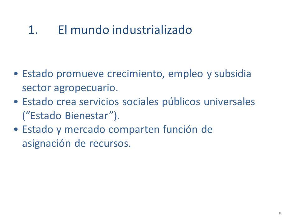 1.El mundo industrializado Estado promueve crecimiento, empleo y subsidia sector agropecuario. Estado crea servicios sociales públicos universales (Es