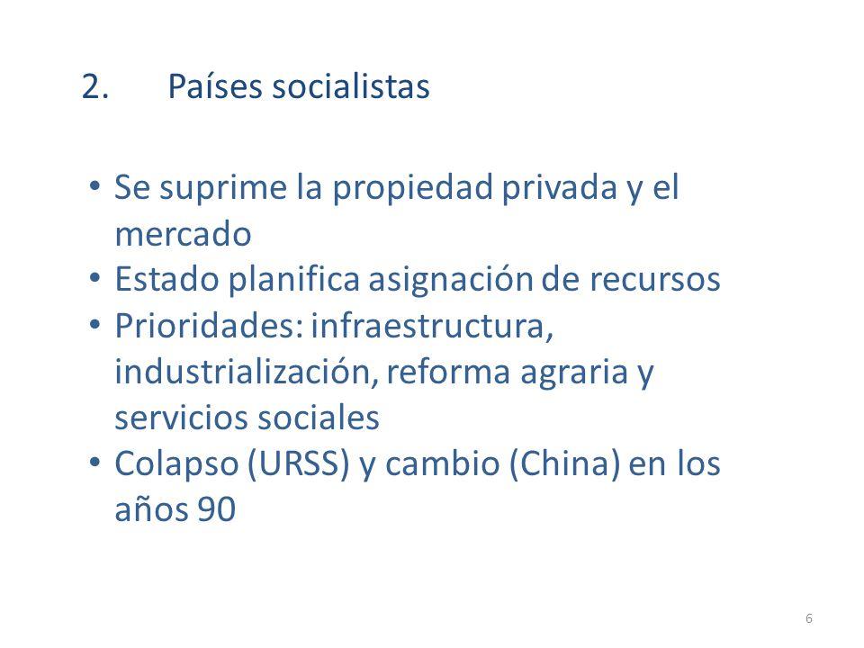 2.Países socialistas Se suprime la propiedad privada y el mercado Estado planifica asignación de recursos Prioridades: infraestructura, industrializac
