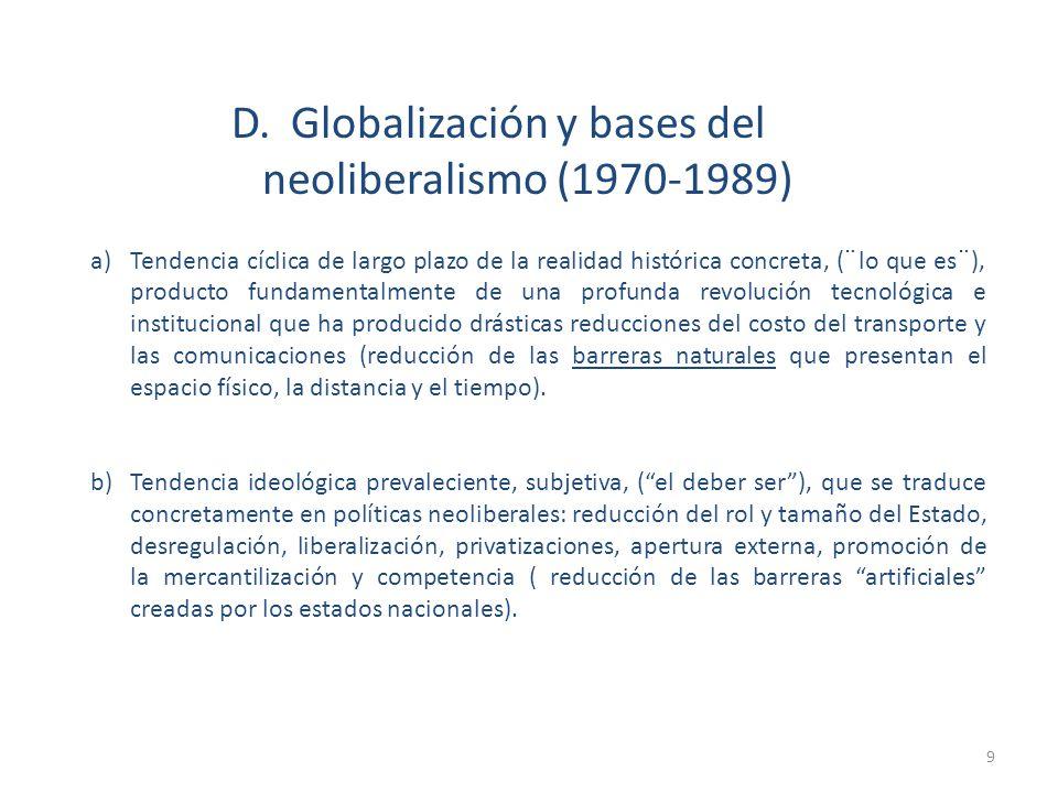 a)Tendencia cíclica de largo plazo de la realidad histórica concreta, (¨lo que es¨), producto fundamentalmente de una profunda revolución tecnológica