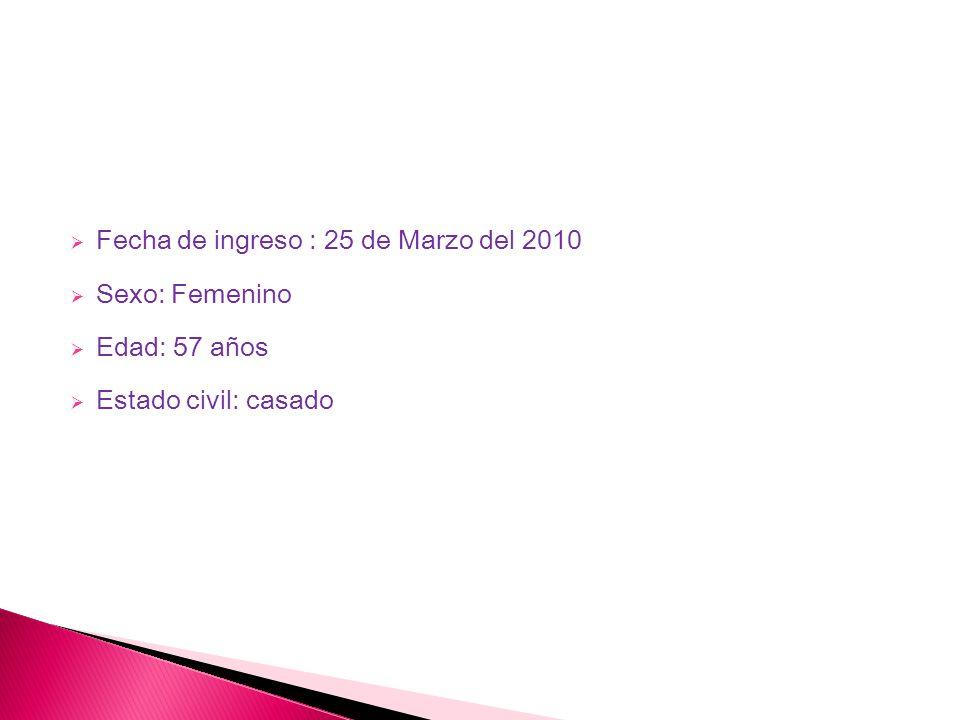 25/03/2010: BHC: Eritrocitos: 4.18 Hemoglobina:7.7 Hematocrito: 27.4% Volumen Corpuscular Medio: 65.7 Fl, Concentración Media de Hemoglobina corpuscular: 28.1 pg, Plaquetas: 357 ul,(megacariocitos) Leucocitos: 5.5 uL, Neutrofilos : 50%, Bandas: 0%,Basófilos 2%, Eosinófilos 12%, Monocitos 6%, Linfocitos: 30 %.