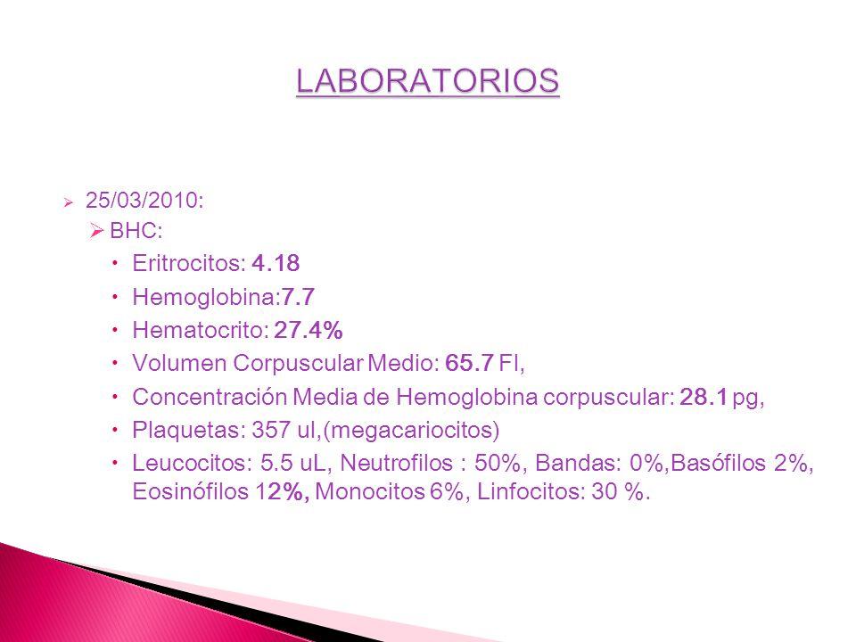 25/03/2010: BHC: Eritrocitos: 4.18 Hemoglobina:7.7 Hematocrito: 27.4% Volumen Corpuscular Medio: 65.7 Fl, Concentración Media de Hemoglobina corpuscul