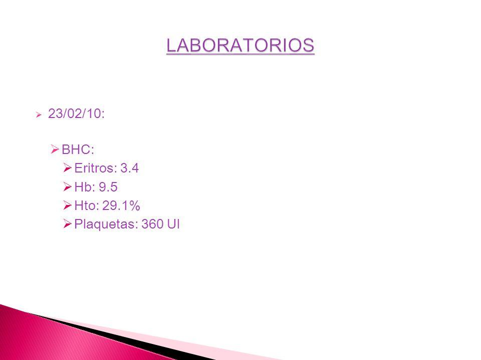 23/02/10: BHC: Eritros: 3.4 Hb: 9.5 Hto: 29.1% Plaquetas: 360 Ul