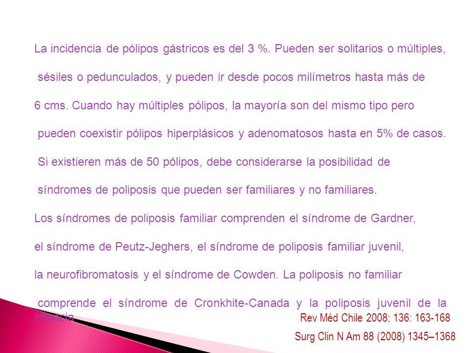 Surg Clin N Am 88 (2008) 1345–1368 Rev Méd Chile 2008; 136: 163-168 La incidencia de pólipos gástricos es del 3 %. Pueden ser solitarios o múltiples,