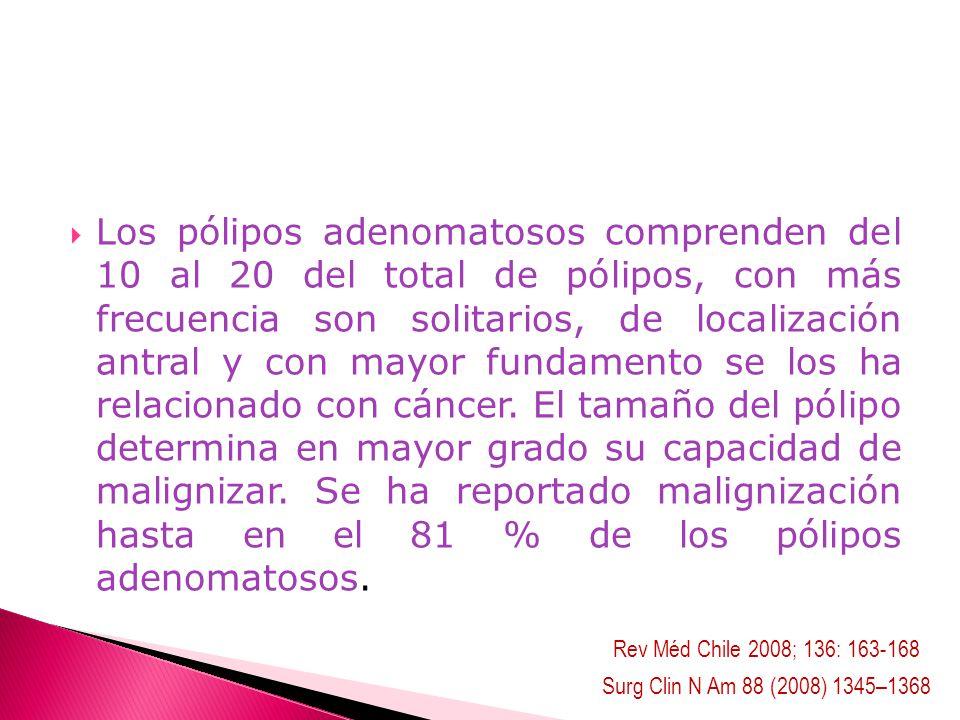 Los pólipos adenomatosos comprenden del 10 al 20 del total de pólipos, con más frecuencia son solitarios, de localización antral y con mayor fundament