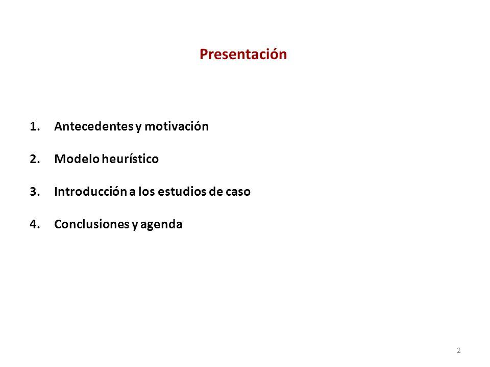 1.Antecedentes y motivación 2.Modelo heurístico 3.Introducción a los estudios de caso 4.Conclusiones y agenda 2 Presentación