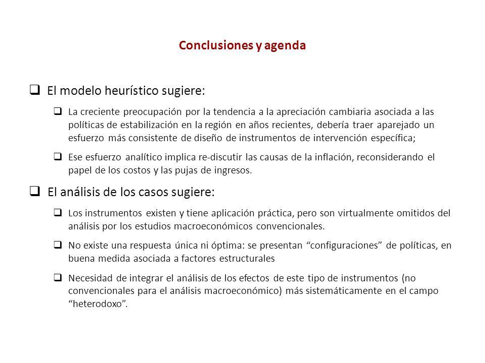 El modelo heurístico sugiere: La creciente preocupación por la tendencia a la apreciación cambiaria asociada a las políticas de estabilización en la r