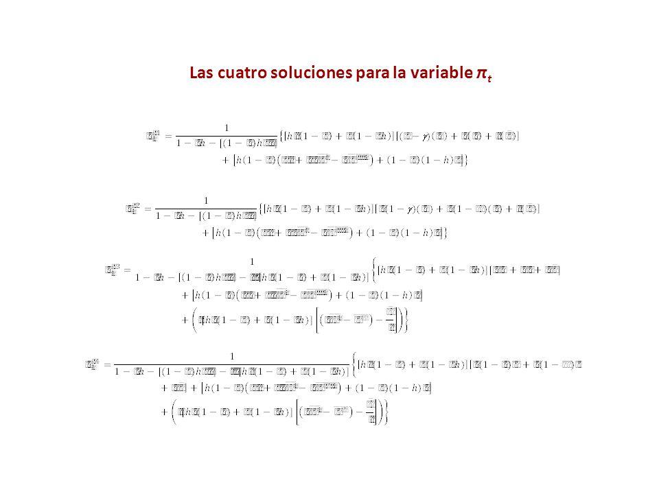 Las cuatro soluciones para la variable π t