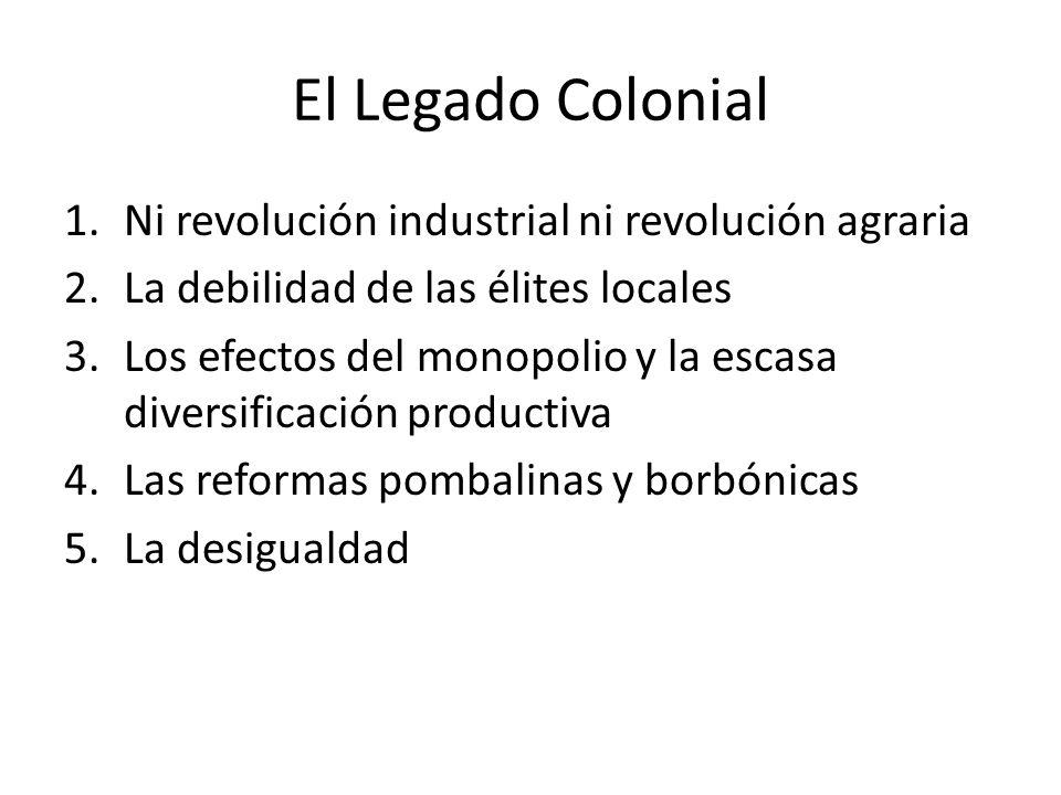 El Legado Colonial 1.Ni revolución industrial ni revolución agraria 2.La debilidad de las élites locales 3.Los efectos del monopolio y la escasa diversificación productiva 4.Las reformas pombalinas y borbónicas 5.La desigualdad