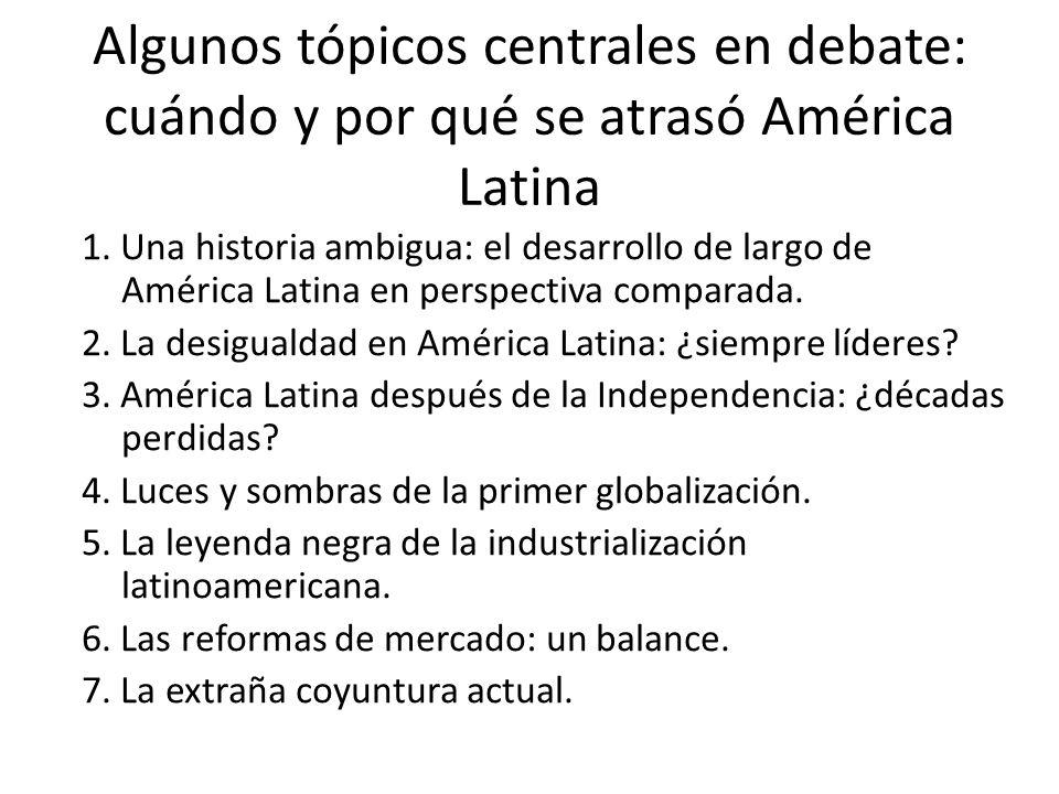 Algunos tópicos centrales en debate: cuándo y por qué se atrasó América Latina 1. Una historia ambigua: el desarrollo de largo de América Latina en pe