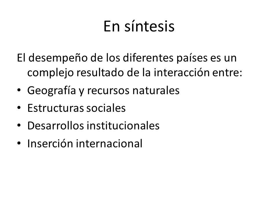 En síntesis El desempeño de los diferentes países es un complejo resultado de la interacción entre: Geografía y recursos naturales Estructuras sociales Desarrollos institucionales Inserción internacional