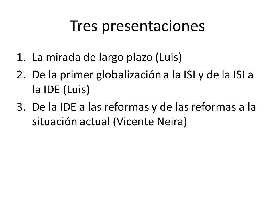 Tres presentaciones 1.La mirada de largo plazo (Luis) 2.De la primer globalización a la ISI y de la ISI a la IDE (Luis) 3.De la IDE a las reformas y de las reformas a la situación actual (Vicente Neira)