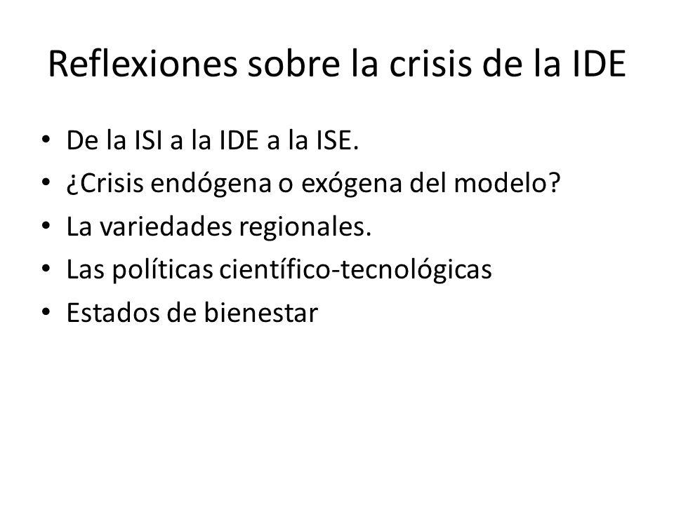 Reflexiones sobre la crisis de la IDE De la ISI a la IDE a la ISE. ¿Crisis endógena o exógena del modelo? La variedades regionales. Las políticas cien