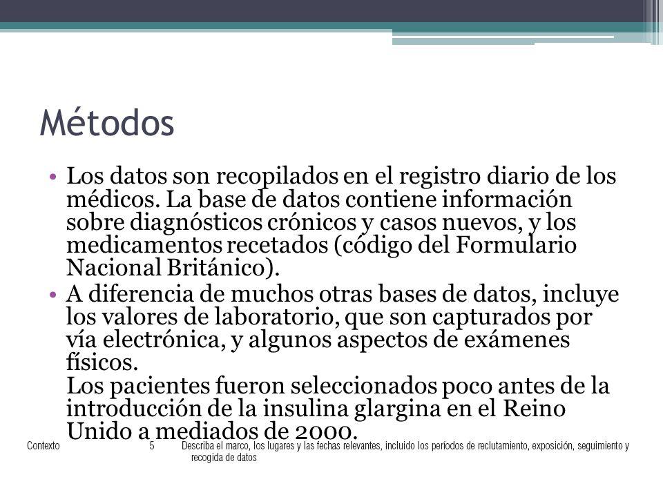 Métodos Los datos son recopilados en el registro diario de los médicos.
