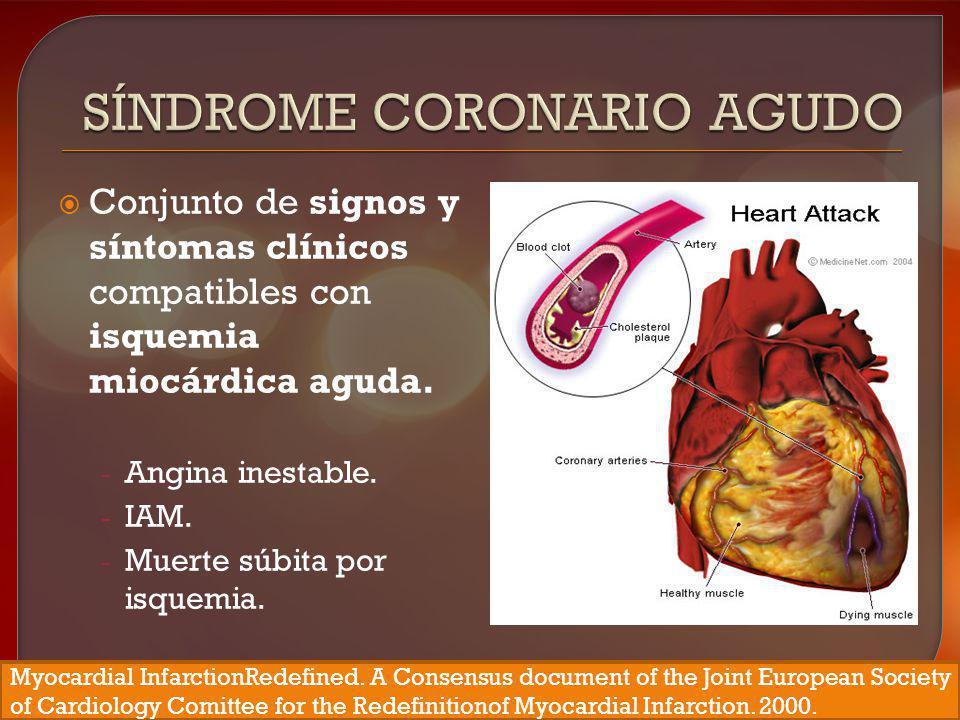 Conjunto de signos y síntomas clínicos compatibles con isquemia miocárdica aguda. - Angina inestable. - IAM. - Muerte súbita por isquemia. Myocardial